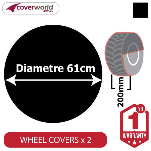 610mm Diametre x 260mm Depth - Spare Tyre Cover - Heavy Duty Black Vinyl
