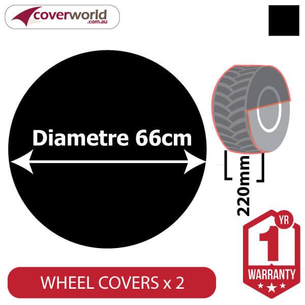 660mm Diametre x 280mm Depth - Spare Tyre Cover - Heavy Duty Black Vinyl